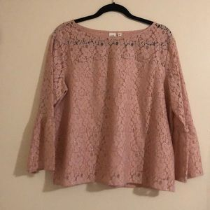 Pink lace blouse with glitter thread detailing.